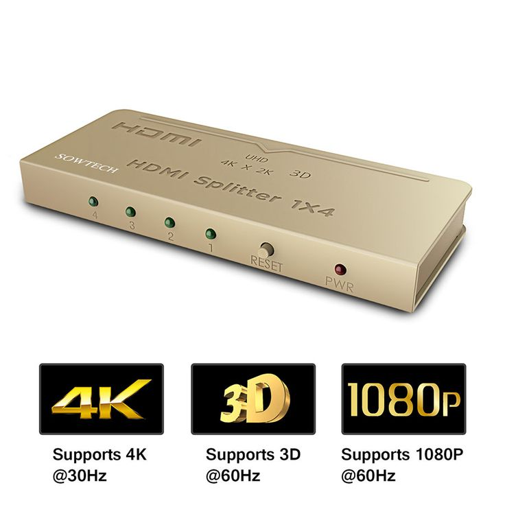 HDMI Splitter, SOWTECH 1x4 Powered 4K 1080P V1.4 Certified HDMI Splitter with Full Ultra HD 4K/2K and 3D Resolutions for Blue-ray, Xbox, Chromecast, Laptop, PS4, HDTV, One Input To Four Outputs - Gold  When the resolution is 4k, input up to 12 meters, output up to 15 meters.  It connect 4 different device with 1 device.