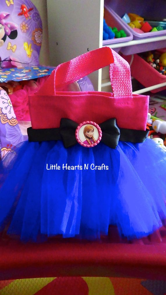 Anna Pink & Blue Frozen Princess Inspired Tutu Purse Canvas Tote Bag on Etsy, $8.50
