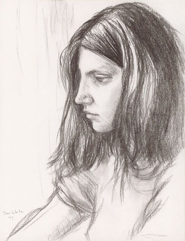 Michaela in Profile 1977 charcoal 35 x 27 cm by © Susan Dorothea White