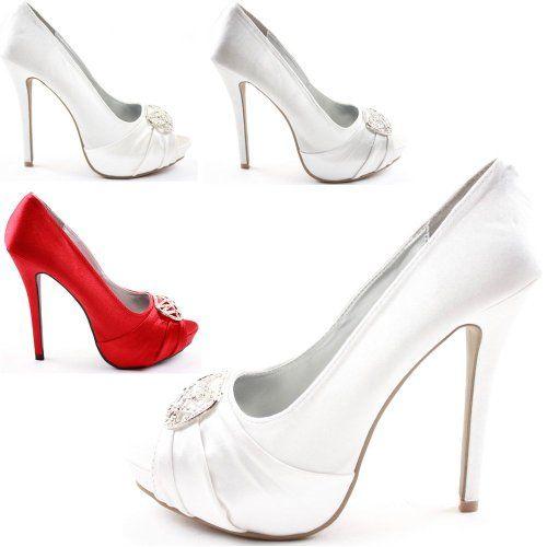 Ladies Womens Platform High Heels Bridal Peeptoe Sandals Diamante Bridesmaid Stiletto Shoes Evening Pumps Size 3-8 New: Amazon.co.uk: Shoes & Bags