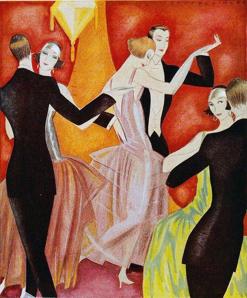 Fashion illustration by Annie Offterdinger, Jugend magazine, 1923.