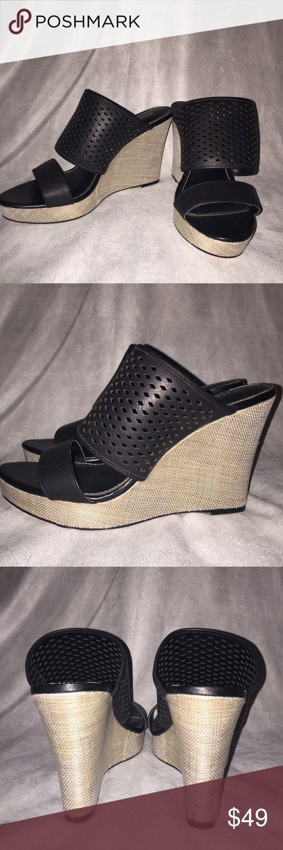 """CHARLES DAVID Black Wedge Sandal (10) NEW CHARLES DAVID Black Wedge Sandal (10) NEW NO Box (Retail: $99)  *Open toe *Cutout detail *Slip on *Wedge heel *Approx. 4.5"""" heel Charles David Shoes Wedges"""