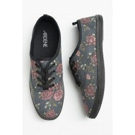 Charcoal Floral Sneakers