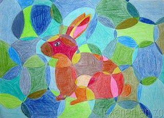MB-BB. Paas tekening. De kinderen tekenen eerst het konijn of de haas in het midden(kan natuurlijk ook met andere dieren). Dan tekenen ze overal paaseieren door elkaar heen, ook door het dier. Het inkleuren is met warme en koude kleuren. Het dier is met warme kleuren, de achtergrond met koude kleuren. En ieder vakje moet een andere kleur als de vakken ernaast zijn.