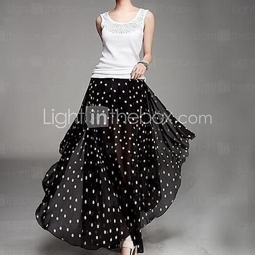 Women's Black Skirts , Casual Maxi - USD $13.99