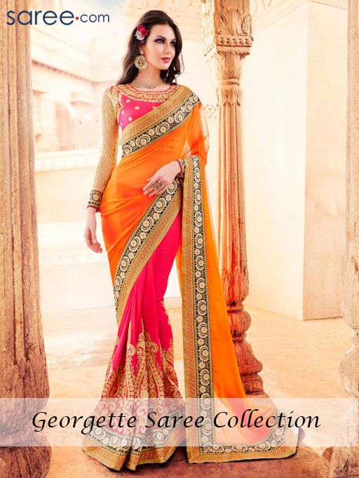 ORANGE AND PINK GEORGETTE SAREE WITH EMBROIDERY WORK