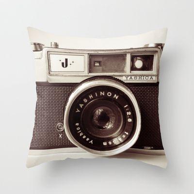 Camera Throw Pillow by Tuky Waingan - $20.00 http://society6.com/product/Camera-xHJ_Pillow?tag=photography