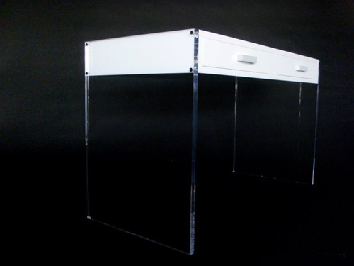 acrylic white desk with drawers by aaron r thomas materials acrylic stainless steel