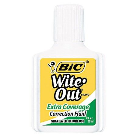 BIC® Wite-Out Extra Coverage Correction Fluid, 20 ml Bottle - White (12 Per Set)