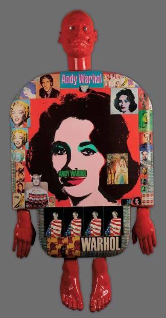 Personnage, Viva Warhol, 1990 Technique mixte et plâtre peint Au dos signé, daté et titré 140 x 70 cm Character, Viva Warhol, 1990 Mixed technique and painted plaster Signed on the back, dated and titled 140 x 70 cm