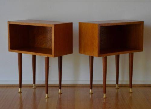 retro mid century danish modern Tasmanian oak bedside tables x 2 in Bedside Tables | eBay