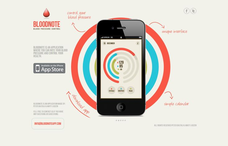 Bloodnote - Blood pressure control  By Matt Ludzen and Peter Bajtala  http://bloodnoteapp.com/ - Love the visualization