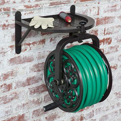 "Rotates to preventing tangling and kinking The Rotating Hose Reel is a wall mounted hose reel that rotates 360°. It lets you wind or unwind your garden hose easily and efficiently by rotating the hose in the direction you are unwinding, preventing tangles and kinking. Holds up to 125' of 5/8"" garden hose, available separately, and features a 90° solid brass swivel to prevent damage to your hose."