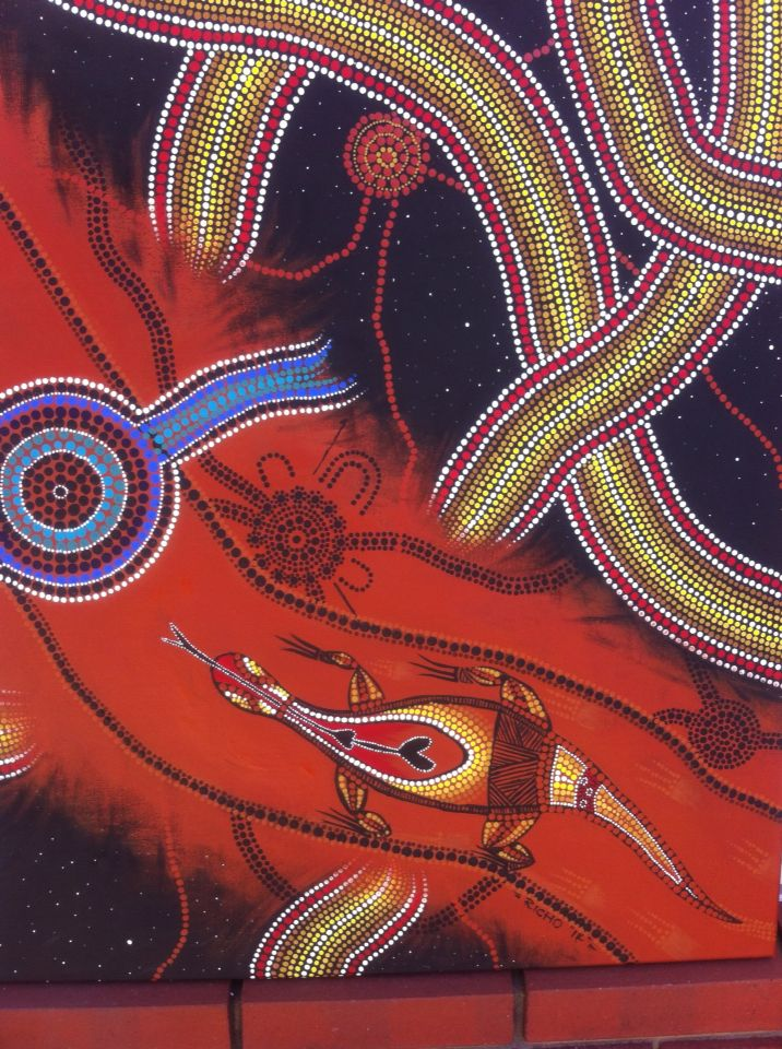 Aboriginal Dot Painting by Richard Websdale titled Soul Mates.