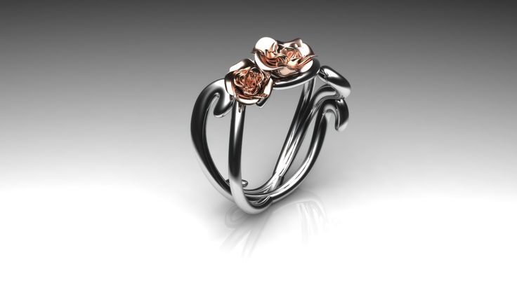Ring whitegold with rosegold flowers