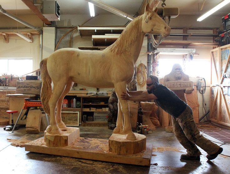 Big Horse Wooden Sculpture Wood Amp Carving Wood Art