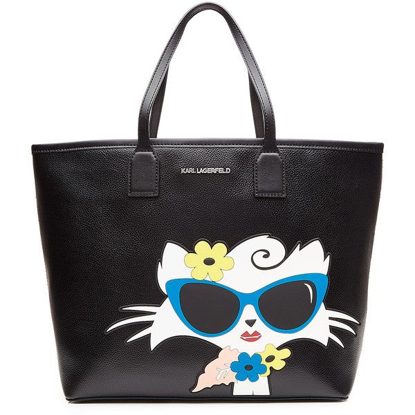Karl Lagerfeld Choupette on the Beach PVC Shopper found on Polyvore featuring bags, handbags, tote bags, black, summer purses, purse tote, zip top tote, tote handbags and man bag