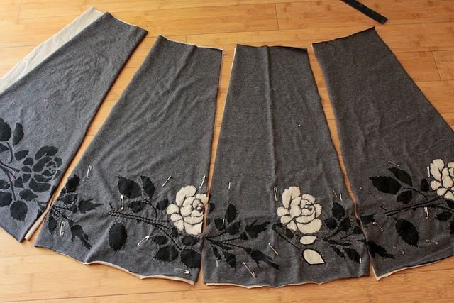 Alabama Chanin reverse applique skirt handstitched