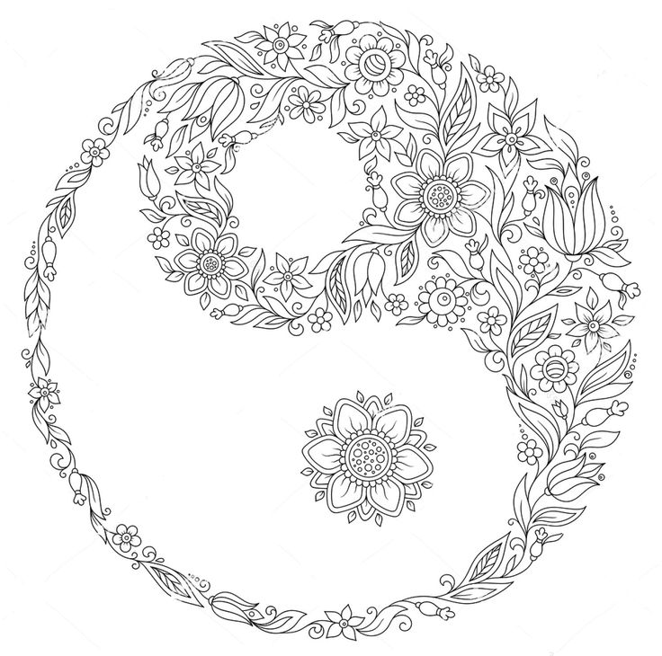 Yin Yang Zentangle Coloring Page Paper Crafting Yin