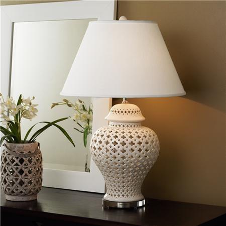 Quatrefoil Pierced White Ceramic Table Lamp