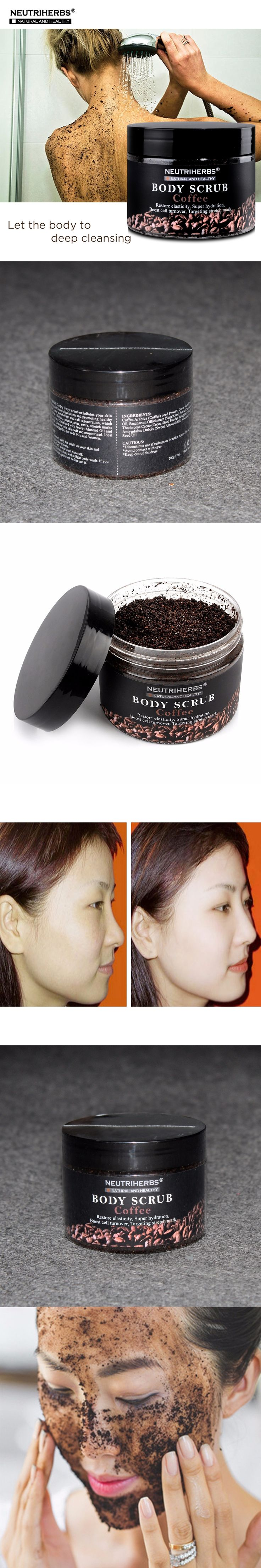 Coffee Body Scrub Moisturizing Body Scrub Cream For Exfoliating Whitening Reducing Cellulite Free Shipping 3pcs/set