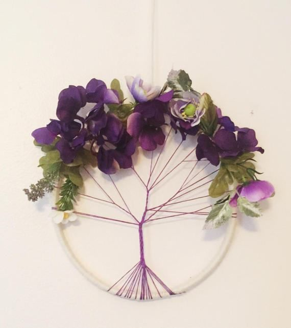This is a one of kind, unique handmade Tree of Life dream catcher. The colors of the tree/flowers can be changed if you give me notice