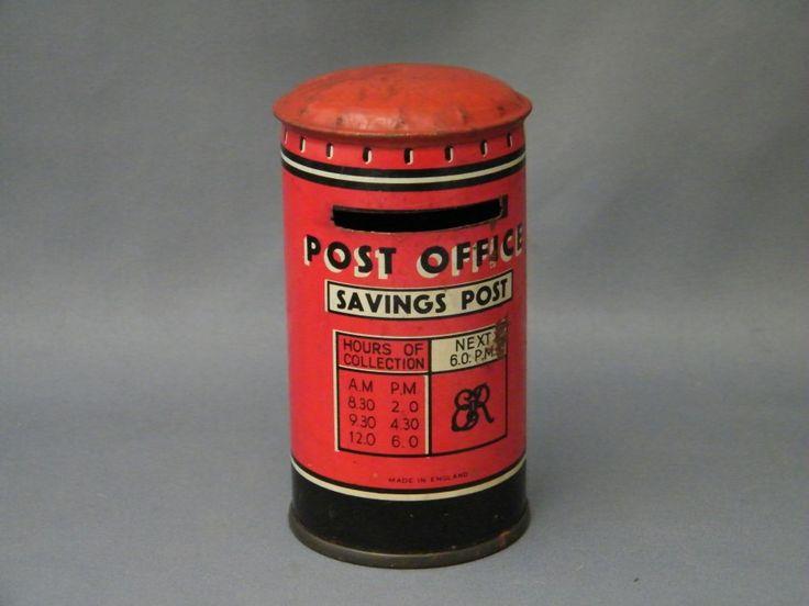 "#0168   1950s - 1960s Tinplate Post Box - Post Office ""Savings Post"" Money Bank  ""SOLD"""