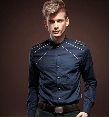 PILAEO Dark Blue Royalty Style Slim Fit Button Down Shirt   www.pilaeo.com #men's #luxury #fashion