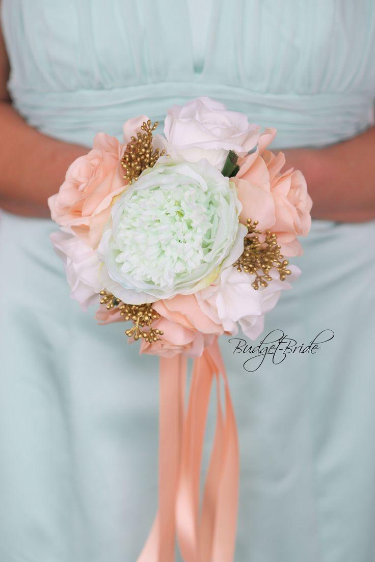 Davids Bridal Mint Green and Gold Bouquet