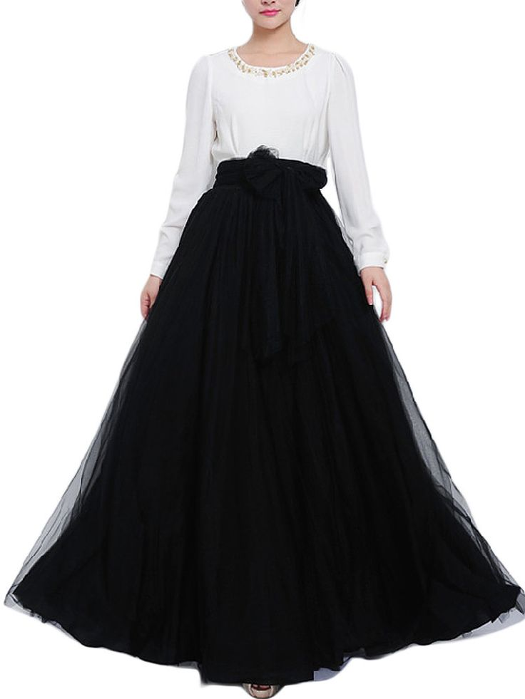Evening Bow Belt Solid Mesh Tulle Elastic Waist Women Maxi Skirt