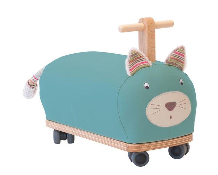Porteur à roulette en forme de chat bleu, Les Pachats - BadBouille