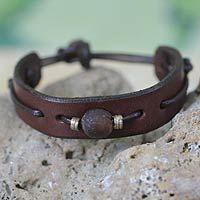 Men's leather wristband bracelet, 'Brown Standout'