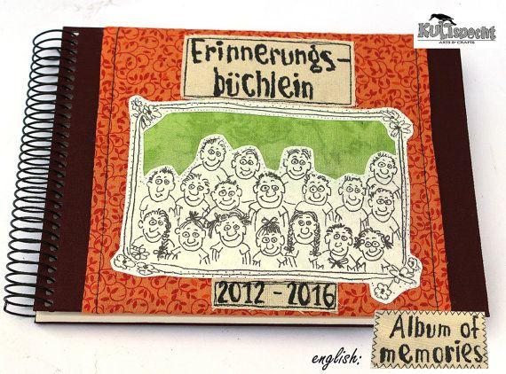 Buch Grundschule, Geschenk Lehrerin,  Erinnerungsbüchlein, Schulalbum, German handmade, Sticker Album Schulklasse, Schulandenken, Unikat
