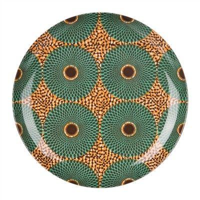 objets : vaisselle Sentou, assiettes, cercles, motif wax, style africain