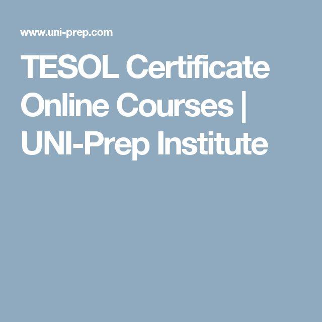 TESOL Certificate Online Courses | UNI-Prep Institute