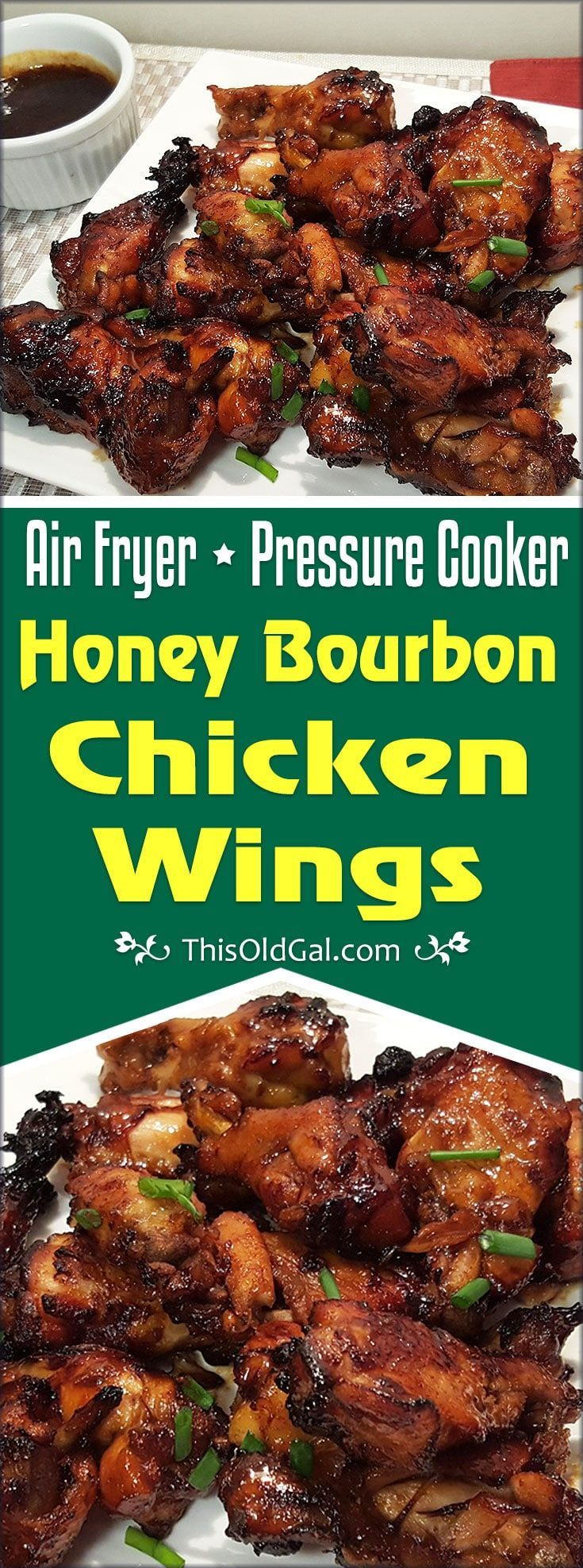 Air Fryer Pressure Cooker Honey Bourbon Chicken Wings use both a Pressure Cooker and an Air Fryer, for moist meat and crisp skin. via @thisoldgalcooks