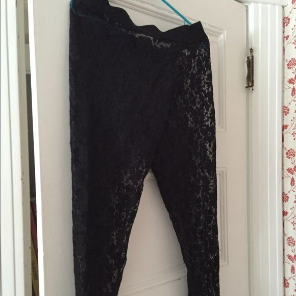 See through leggings Flower pattern on see through leggings. Really cool never worn! American Eagle Outfitters Pants Leggings