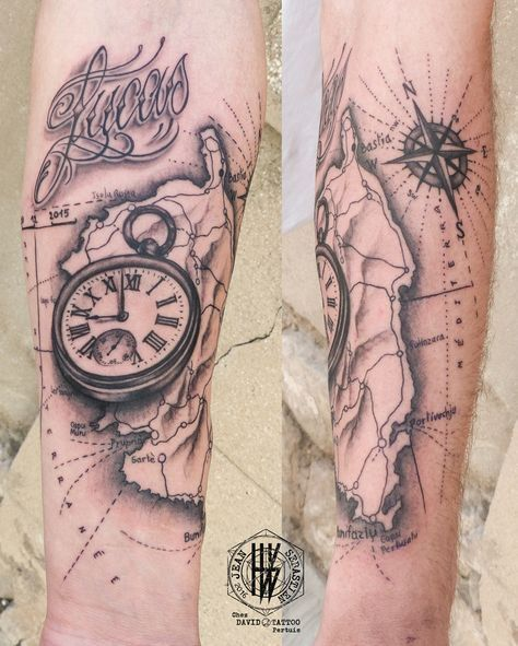 Tattoo par Jean-Sébastien HvB (Dessin du Lettering par John Le Fox !!) chez…