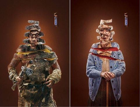 An ad campaign for Snickers chocolate by Impact BBDO, Dubai.