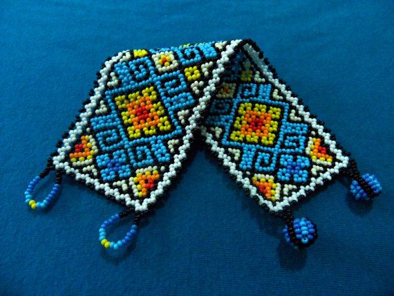 Huichol Bracelet Free Ship Blue Yellow Red Orange by ManoDeGato