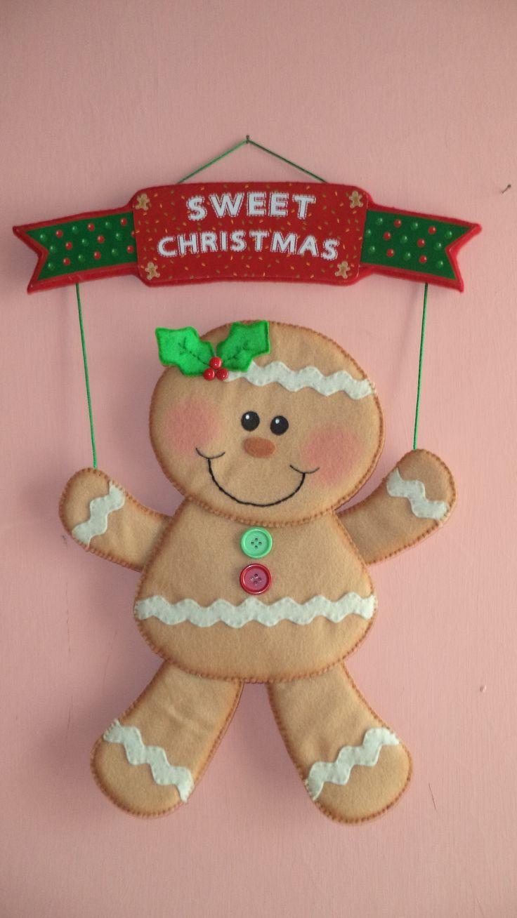 "COLGANTE MUNECO GALLETA GENGIBRE, ""SWEET CHRISTMAS"""