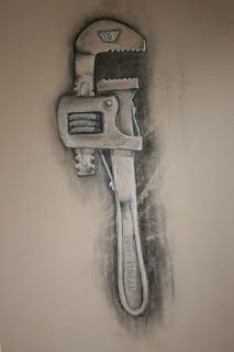 Charcoal drawing/wrench. Class project drawing 'tools' after researching the work of Pop Artist Jim Dine.