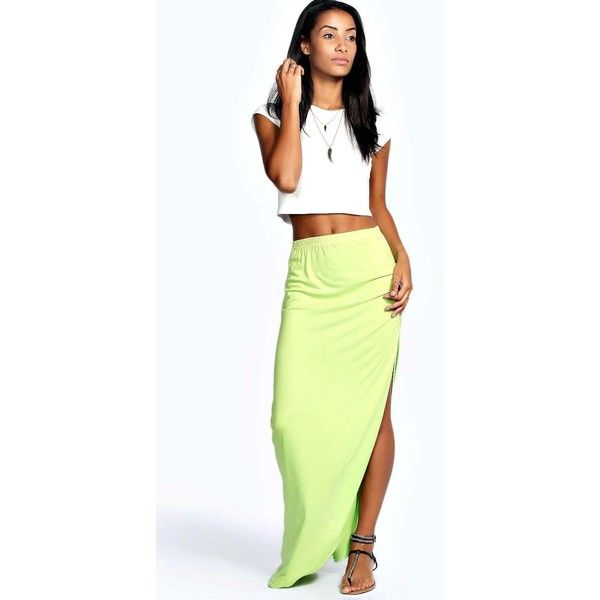 Boohoo Basics Michelle Viscose Maxi Skirt ($14) ❤ liked on Polyvore featuring skirts, lime, midi maxi skirt, flared midi skirt, rayon maxi skirt, long floral skirts and long circle skirt