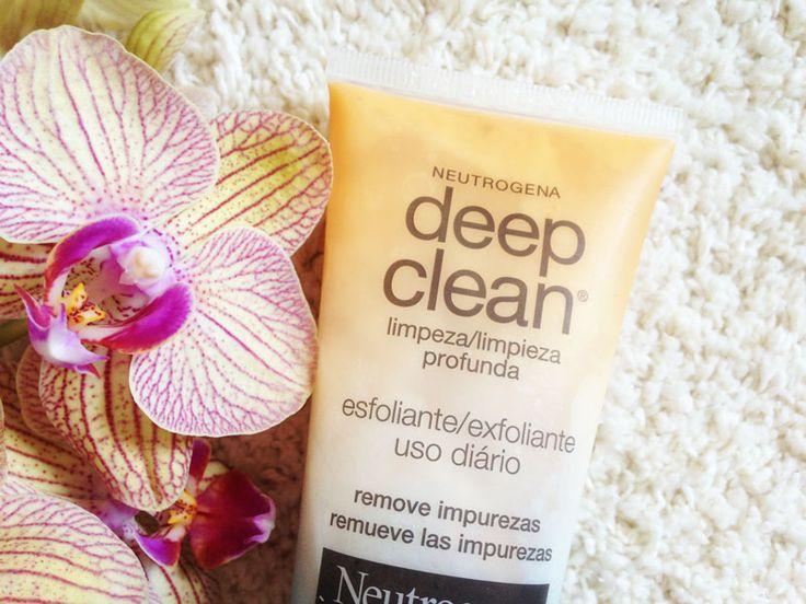 Resenha do Esfoliante Neutrogena Deep Clean, um esfoliante facial indicado para peles com tendência a cravos e espinhas, que contém ácido salicílico.