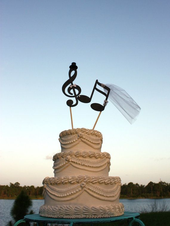 Music lover wedding cake topper-music notes-musician-wedding cake topper-music lover-instruments-bride and groom-custom-music notes on Etsy, Sold