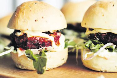 Lamb and beetroot sliders with garlic mint and yoghurt