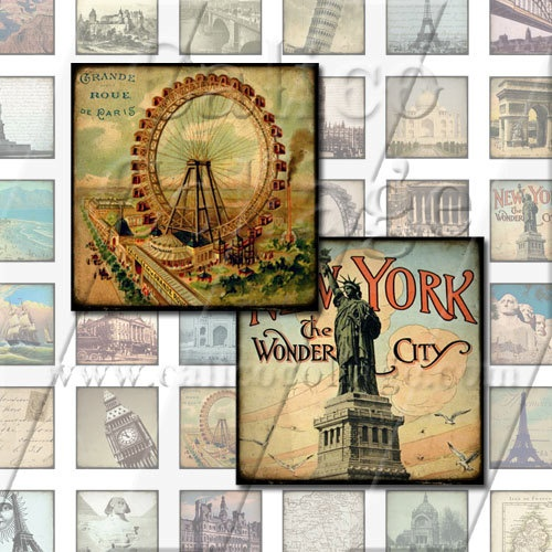 NEW World Travels  Digital Collage Sheet  1x1 by calicocollage, $3.75
