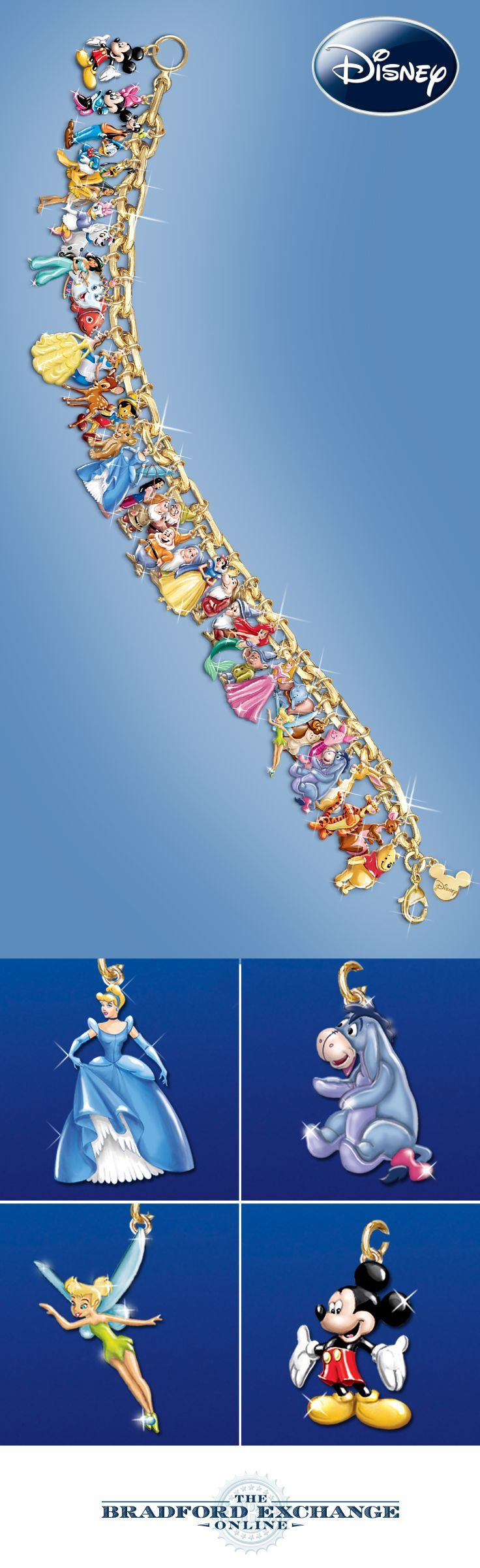 Celebrate the joy and magic of 37 beloved characters with this extraordinary Disney charm bracelet.
