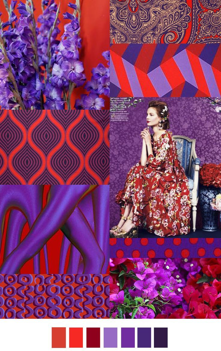 PURPLE & RED FOR SS 17. For SS 17 they are predicting that red and purple will be the main colors for that time. There are also a lot of different patterns including polka dots and floral and a lot of others. -Jordyn B.