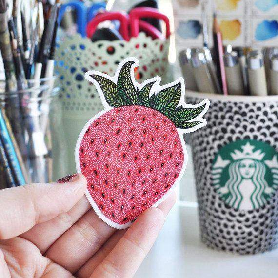 Vinyl Sticker Strawberry Pattern Waterproof Sticker Strawberry Decal Fruit Sticker Laptop Sticker Skateboard Sticker